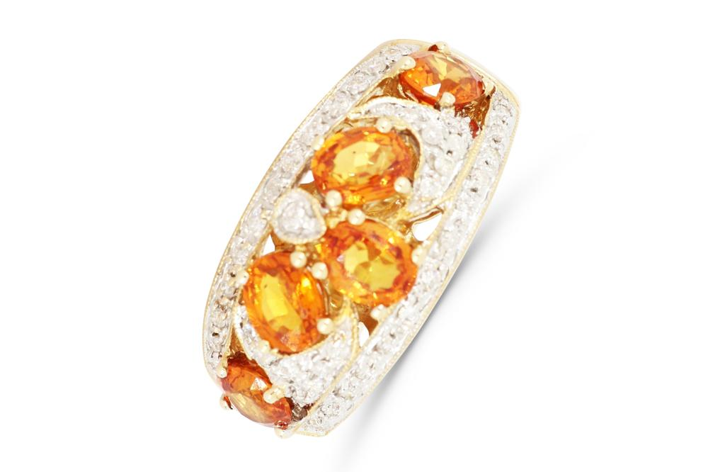 14ct gold dress ring set with 5 oval faceted yellow Mandarin Sapphire and Diamonds