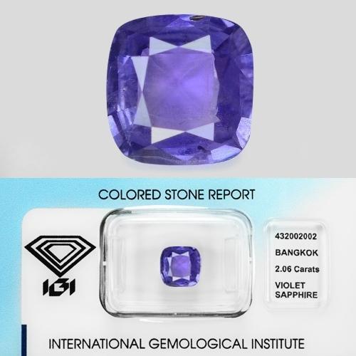 Natural IGI Certified Unheated Violet Colour Ceylon Sapphire 2.06ct