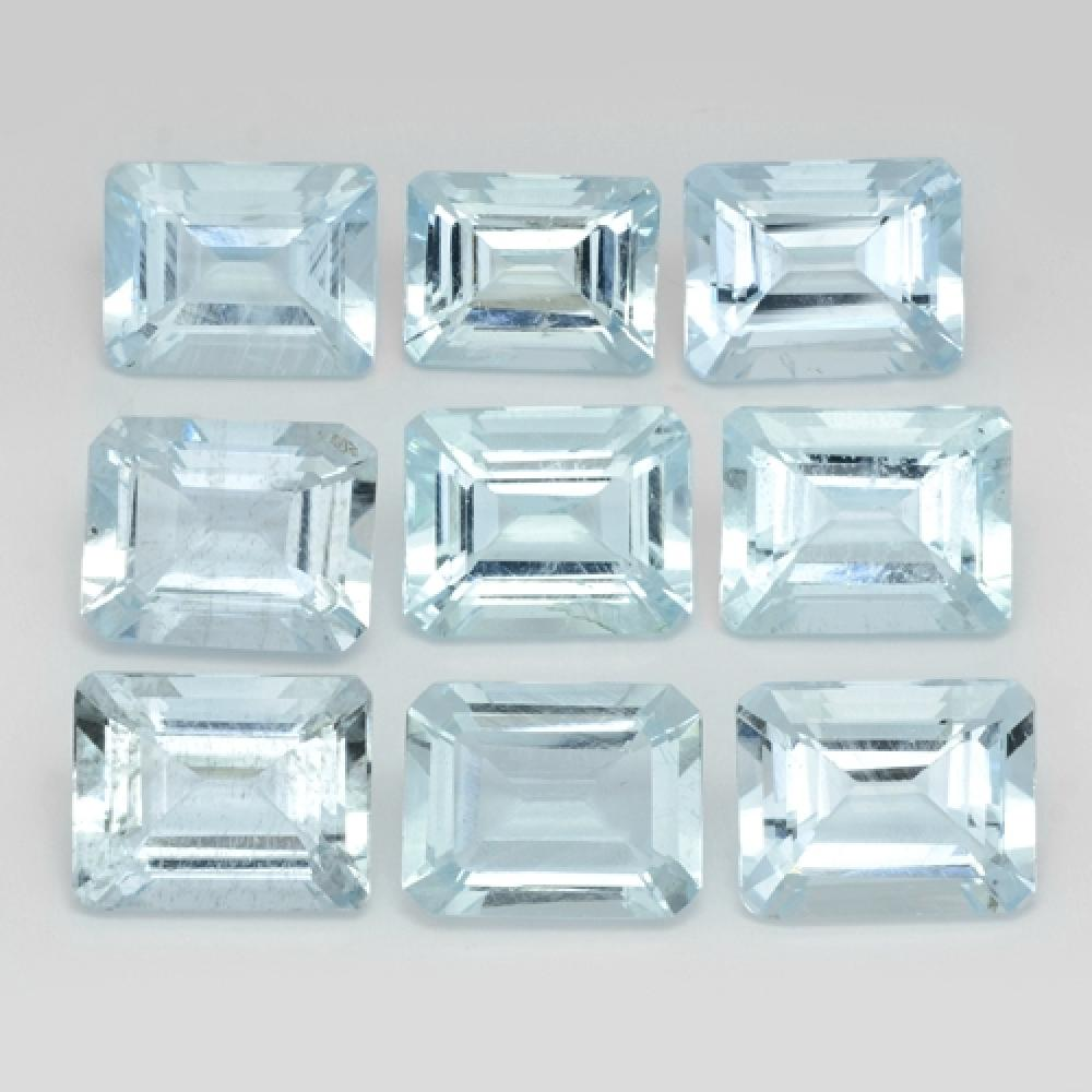 Collection 9 Pcs Emerald Cut Natural Blue Aquamarines 26.08cts