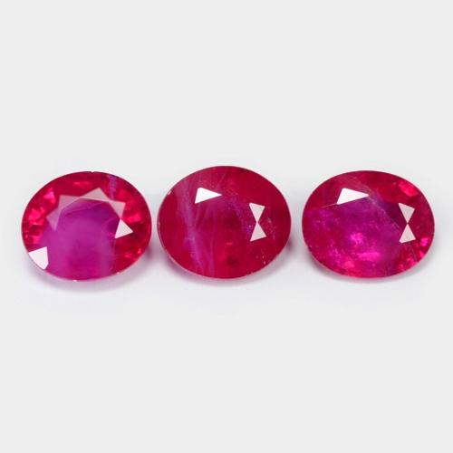 3 Pieces Natural Reddish Pink Colour Ruby 1.86cts