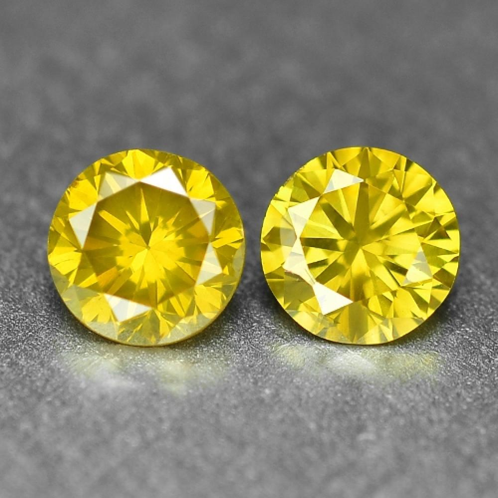 Pair of Heat Treated Fancy Vivid Yellow Colour Natural Loose Diamond 0.37ct