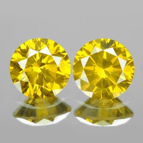 Pair of Fancy Vivid Yellow Colour Natural Treated Loose Diamonds 0.38cts