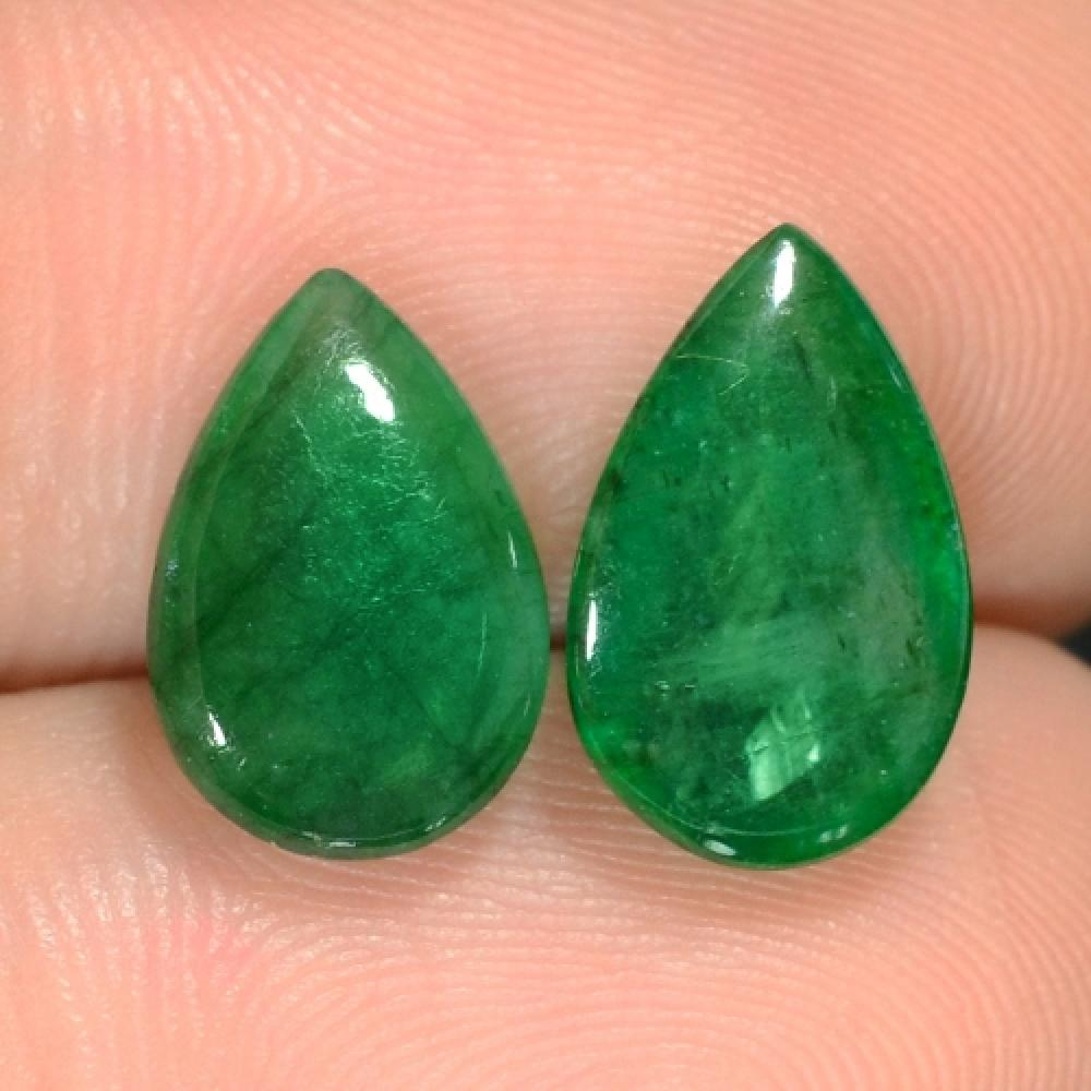 Pair of Natural Green Zambian Emeralds 4.88cts TW