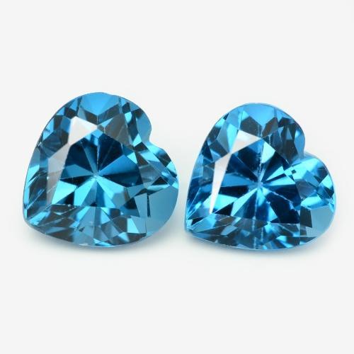 Pair of Heart Cut Natural London Blue Topaz 3.51ct