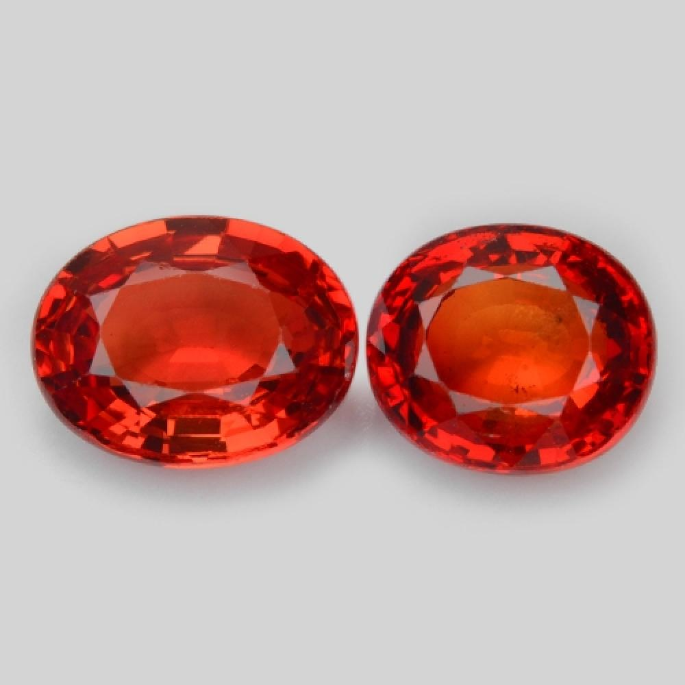 Pair of Fancy Vivid Red Colour Natural Sapphire