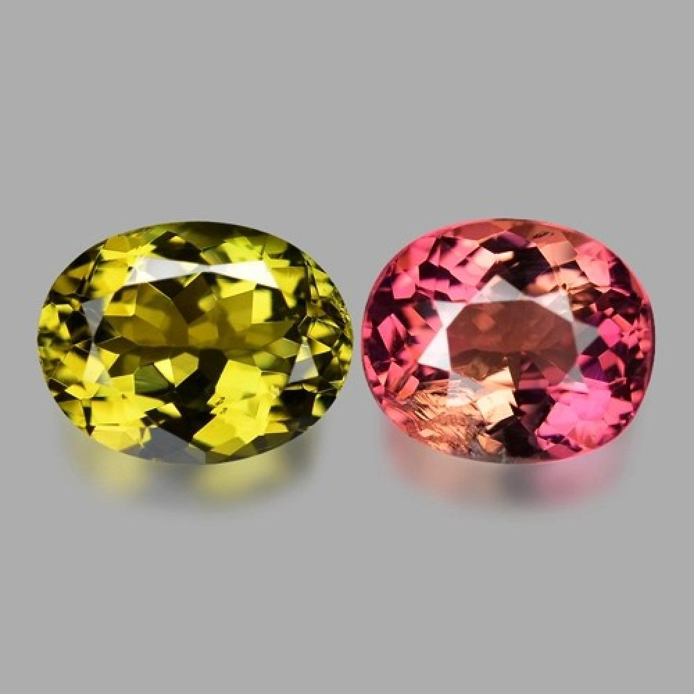 3.87 Carat 2 Pcs Yellow & Pink Pair Natural Tourmaline Gemstone