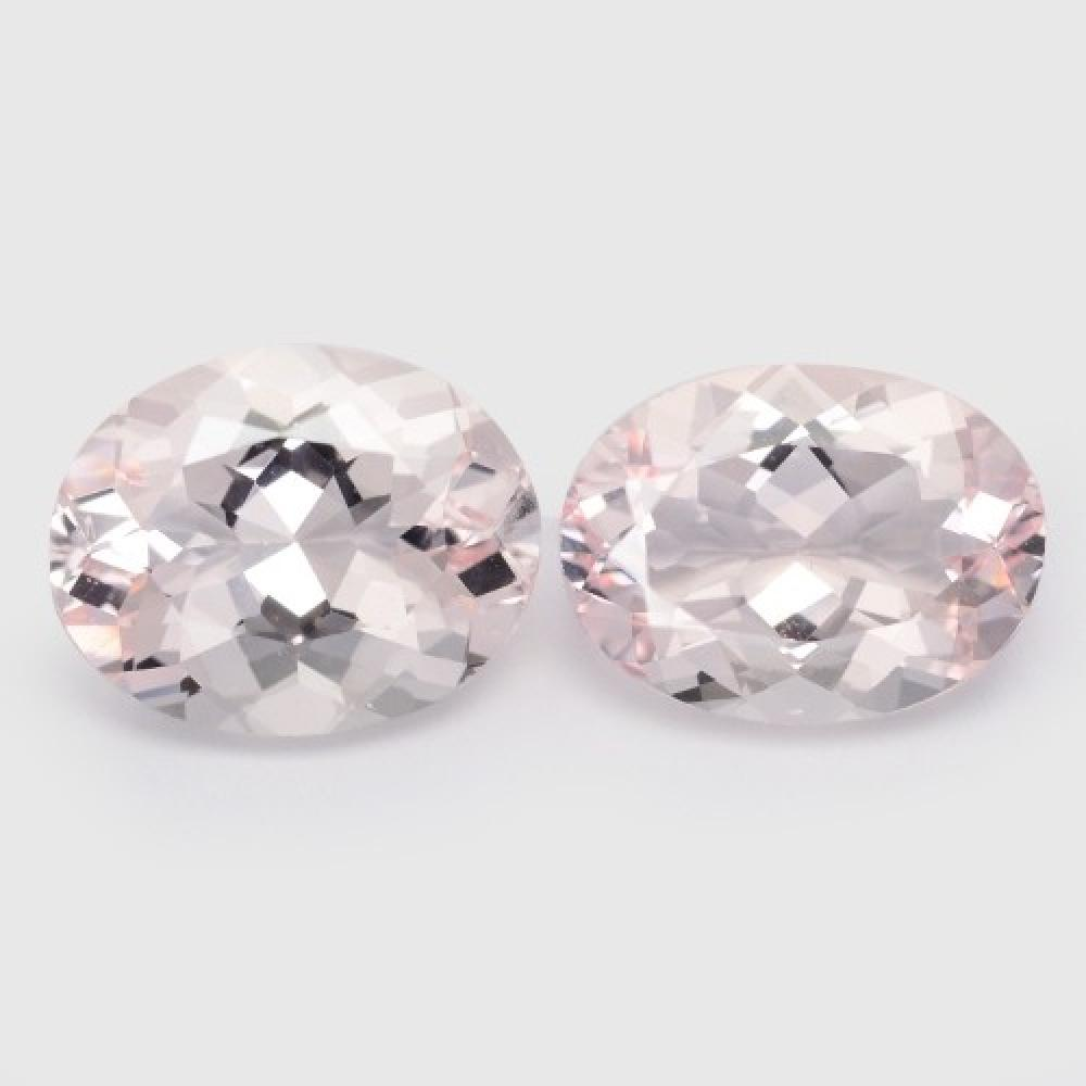 5.60 Carat 2 Pcs Excellent Matching pair Top Pink Colour Natural Morganite Gemstone