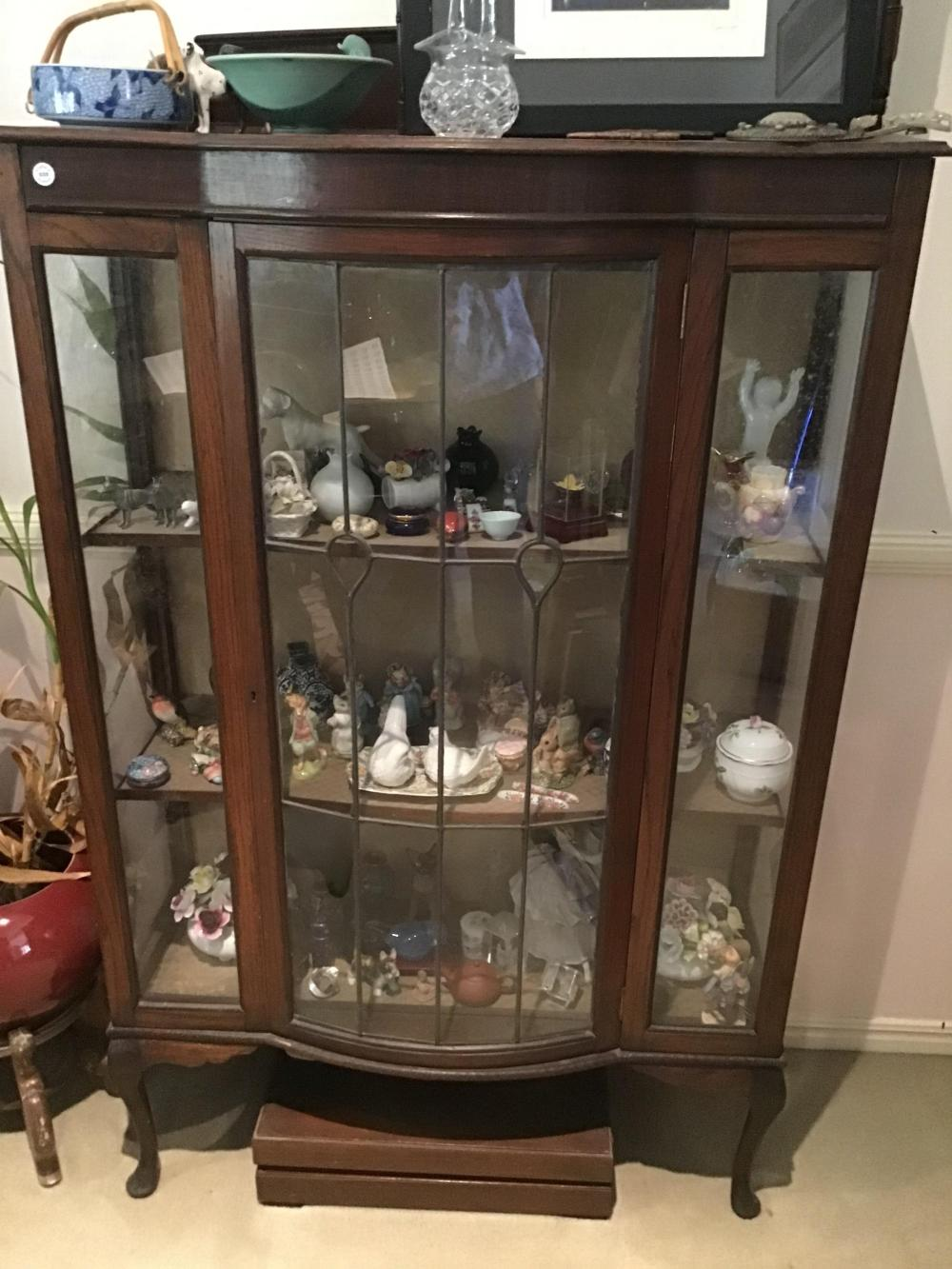 Vintage solid timber bow fronted display case with leadlight glazing and Queen Anne legs