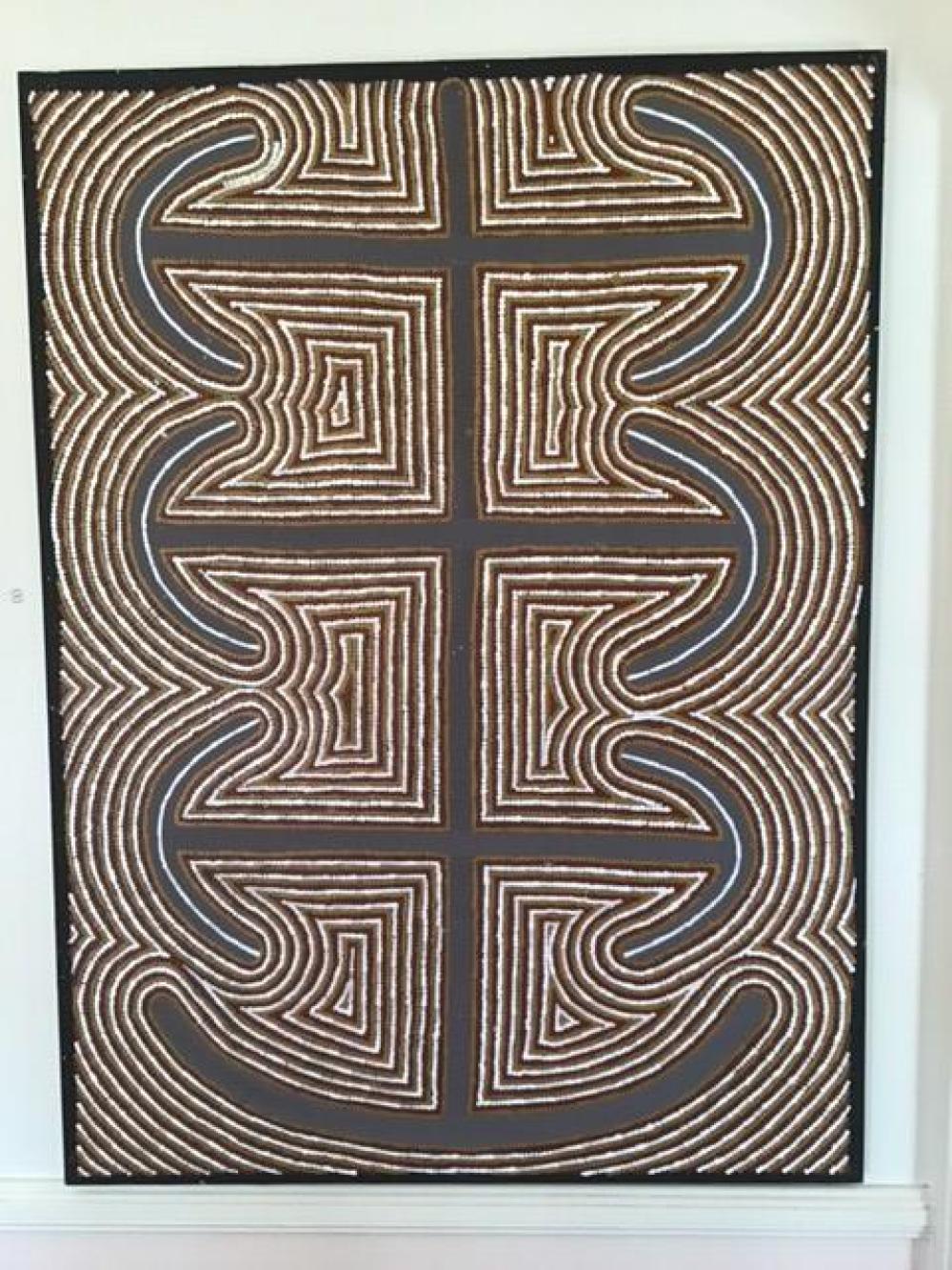 "Large important acrylic painting on canvas ""Mens Business"" Kiwirrkura (Papunya)"