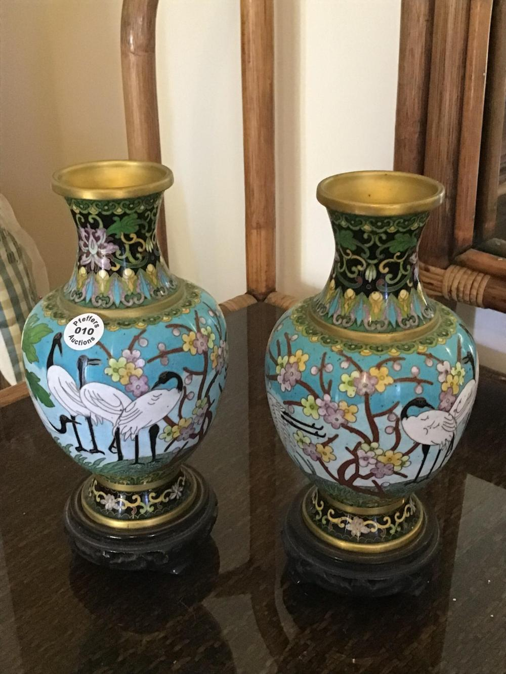 Pair Chinese Cloisonné and Brass vases decorated with floral and storks on timber bases