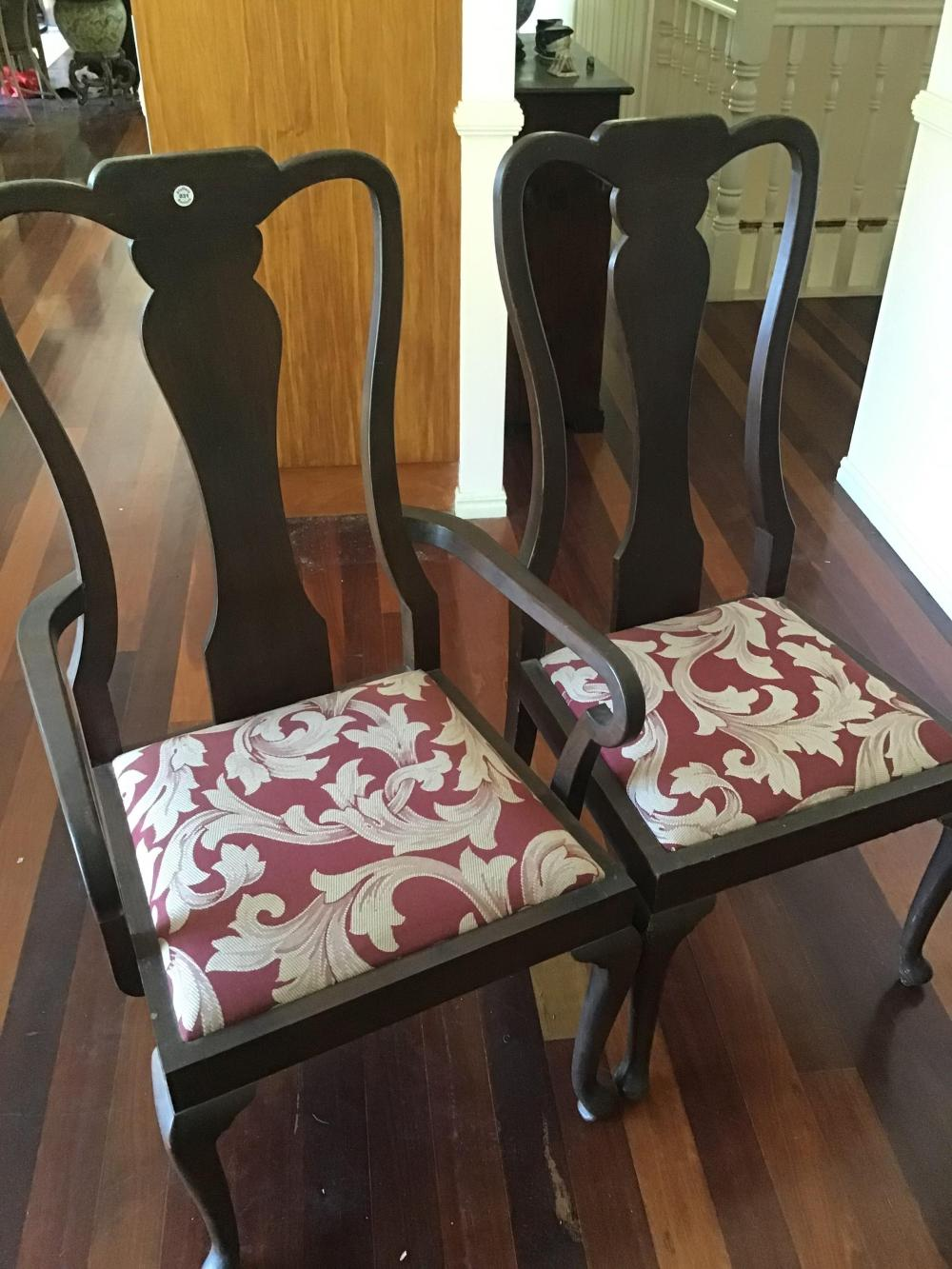 10 vintage solid mahogany high back Queen Anne style dining chairs, two are carver chairs with arm rests