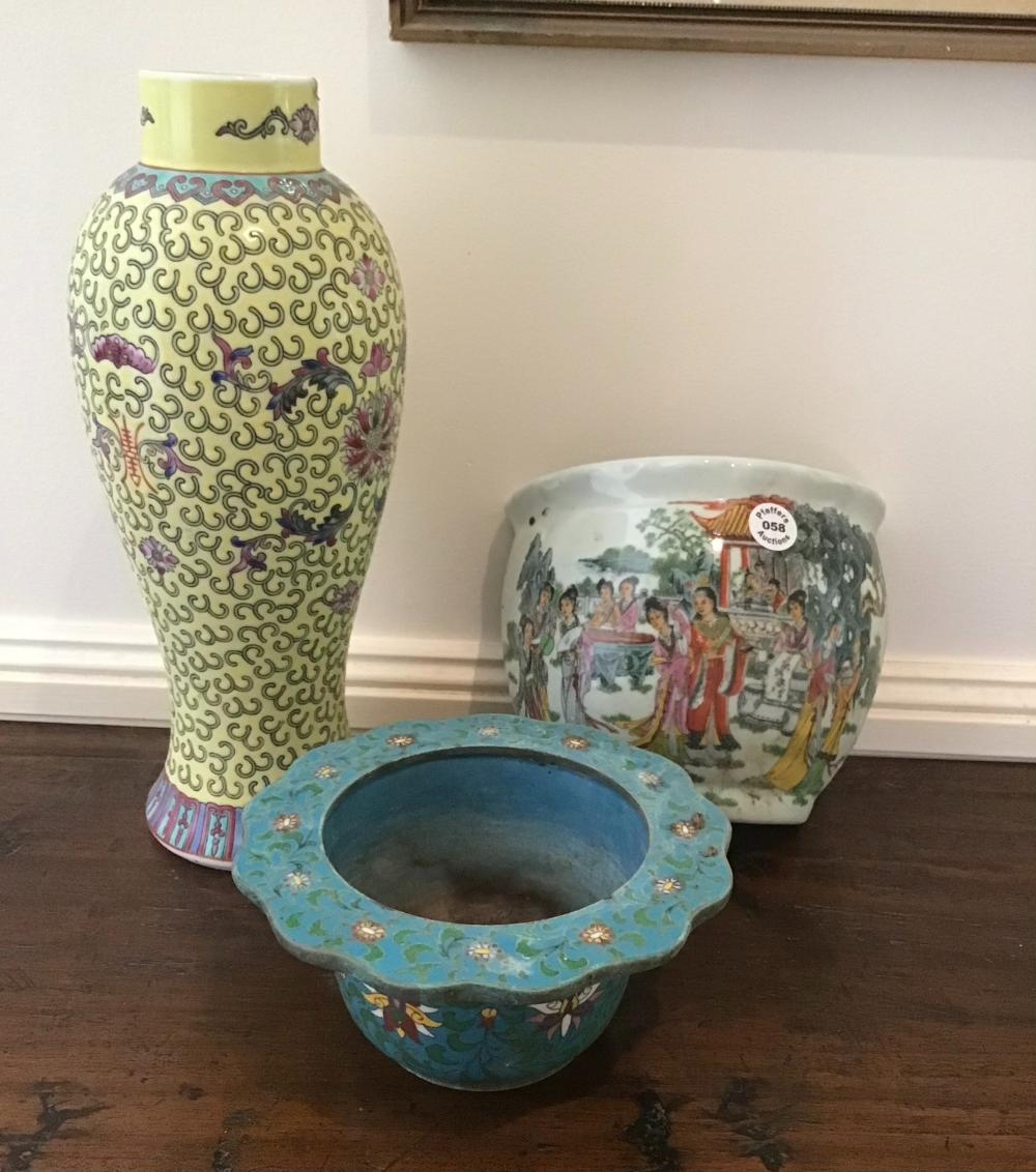 Three piece lot Vintage Chinese cloisonné bowl, Over glazed vase and wall vase