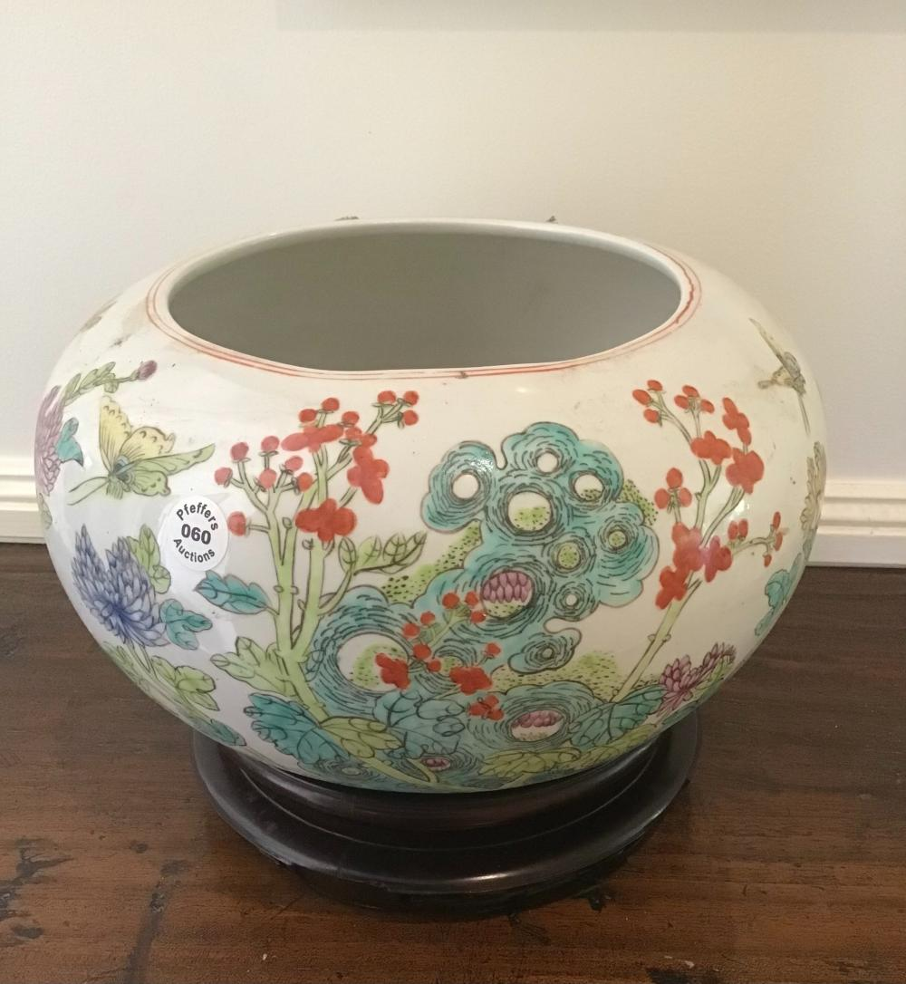 Large vintage Chinese over glazed hand painted porcelain bowl on wood base
