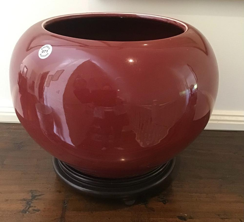 Large vintage Chinese Ox Blood and Copper Glaze porcelain bowl on wood stand