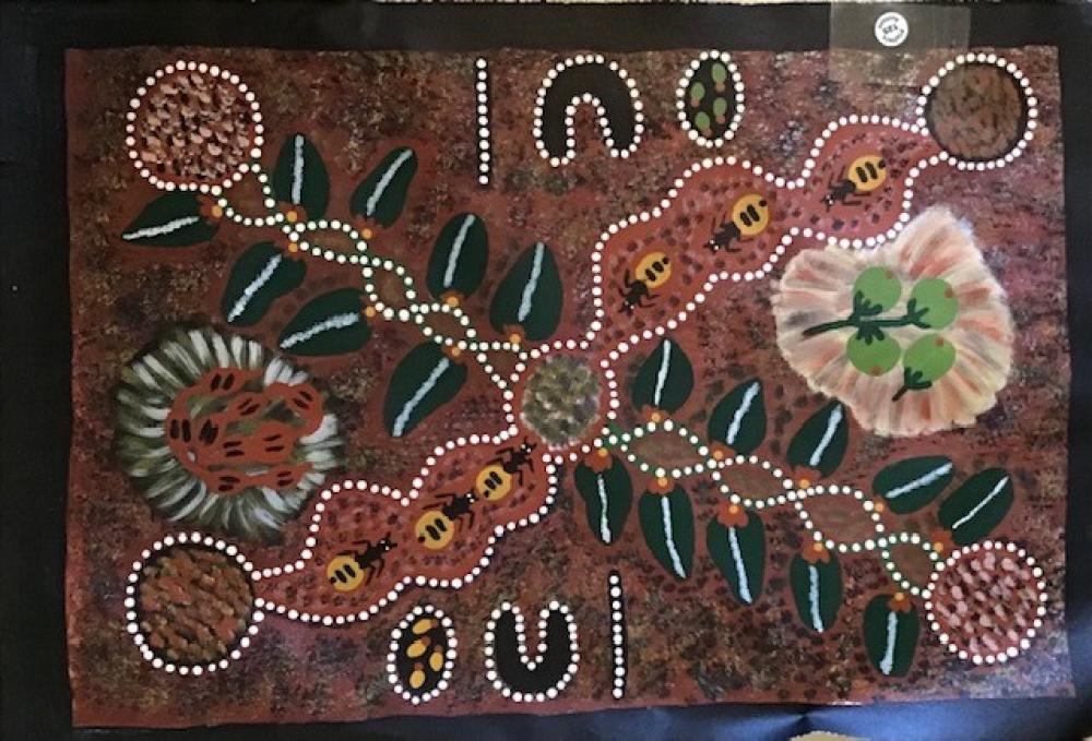 Original acrylic Aboriginal painting on canvas Hilda Nambula, Barrow Creek NT