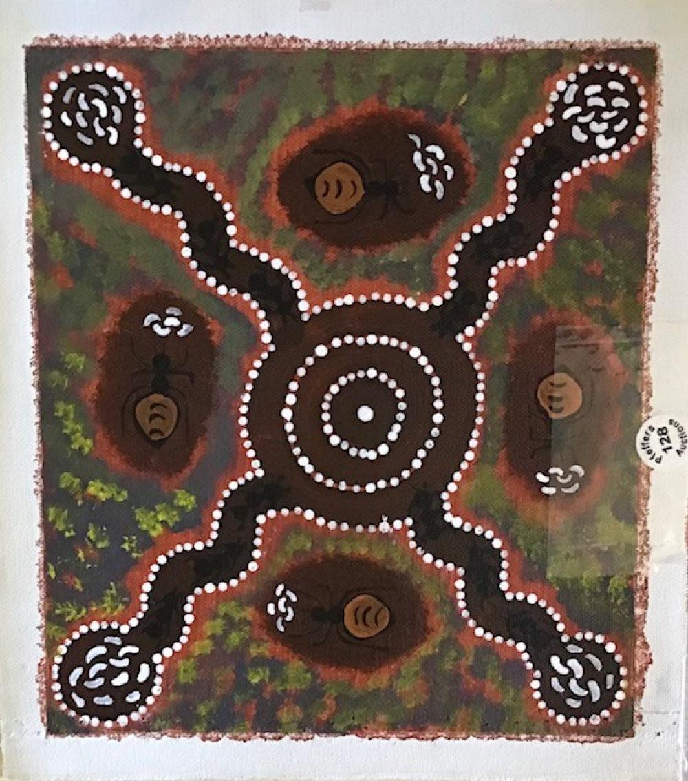 "Original Aboriginal acrylic painting on canvas Angela Rice ""Honey Ants Dreaming"""