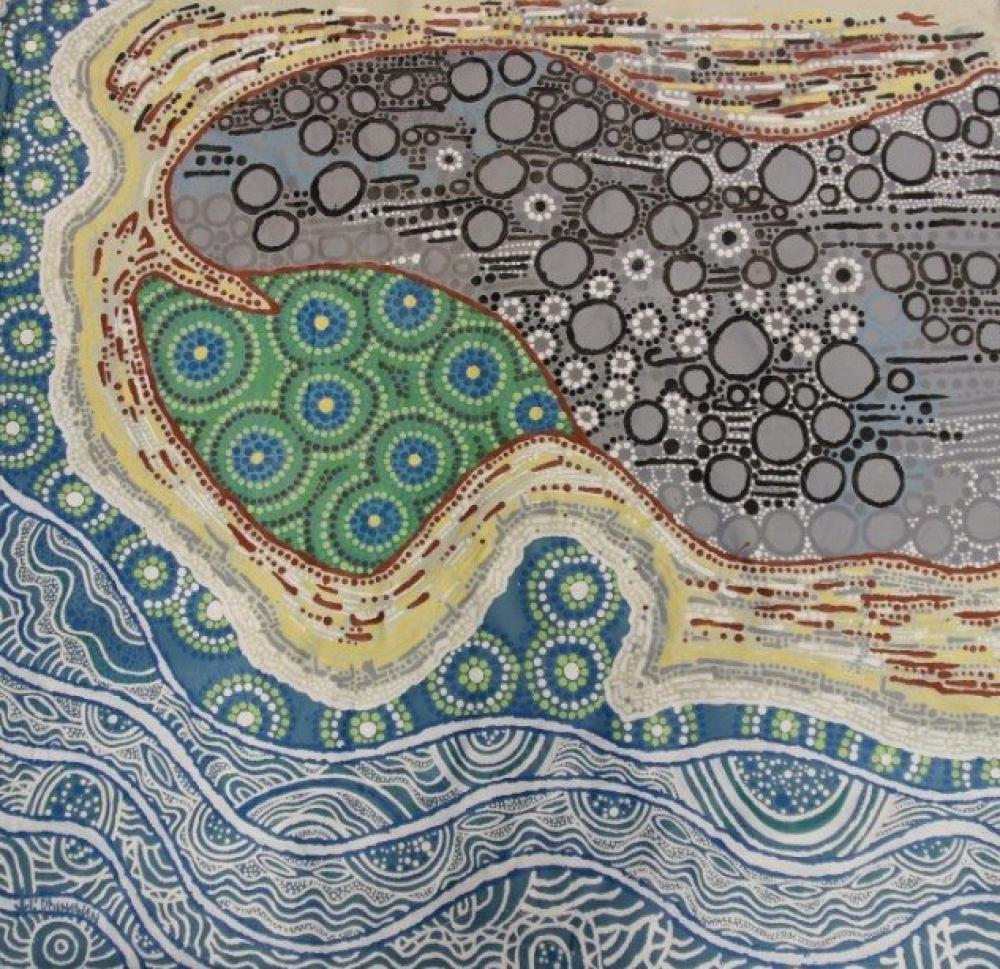 Large Important Aboriginal acrylic painting on canvas by Dhinawan Baker