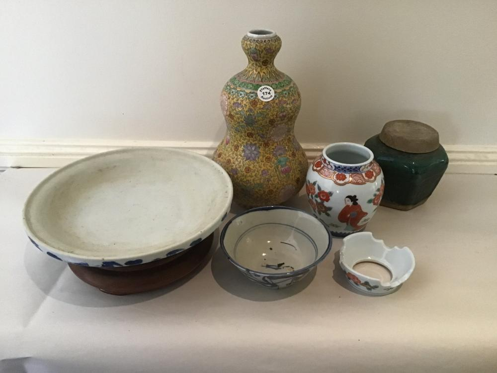 5 pieces lot Vintage Chinese porcelain and ceramic 2 bowls, 2 vases and lidded bowl