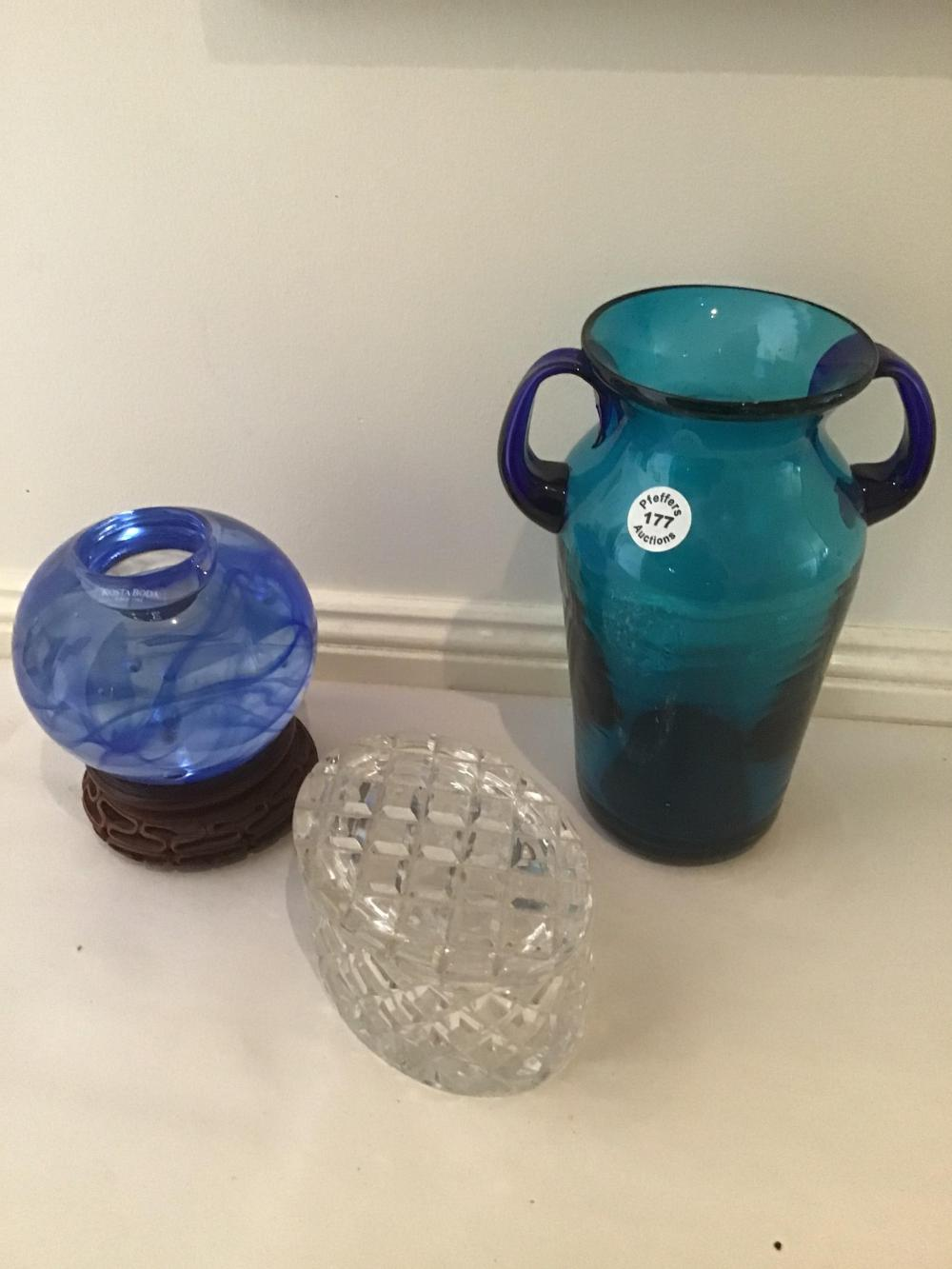 Blue Kosta Boda glass candle holder, hand blown glass vase and cut crystal lidded bowl