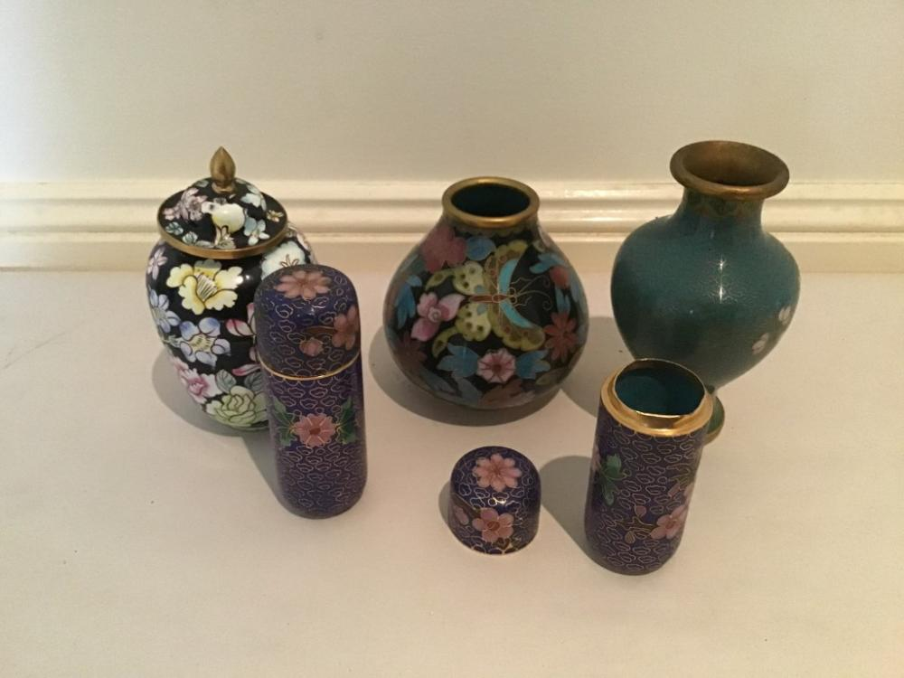 5 piece lot various vintage Chinese cloisonné lidded containers and vases