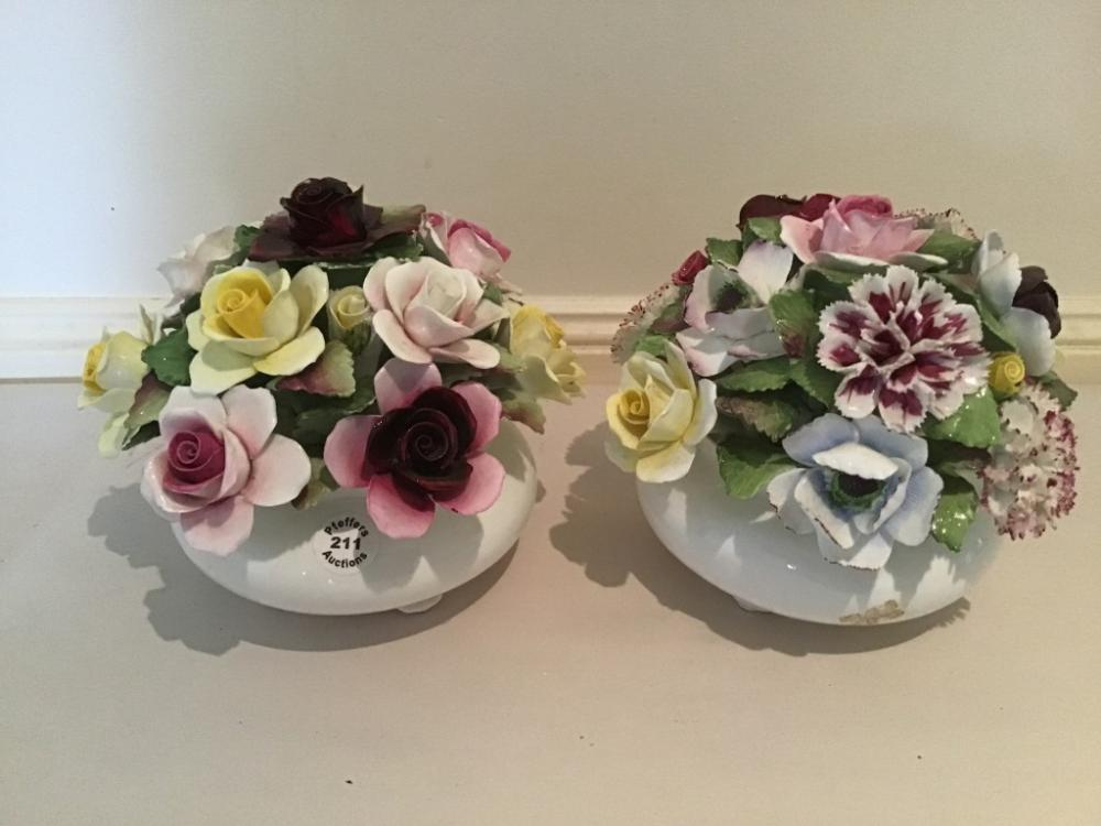 Two large Royal Doulton bone china Bowl of Flowers ornaments