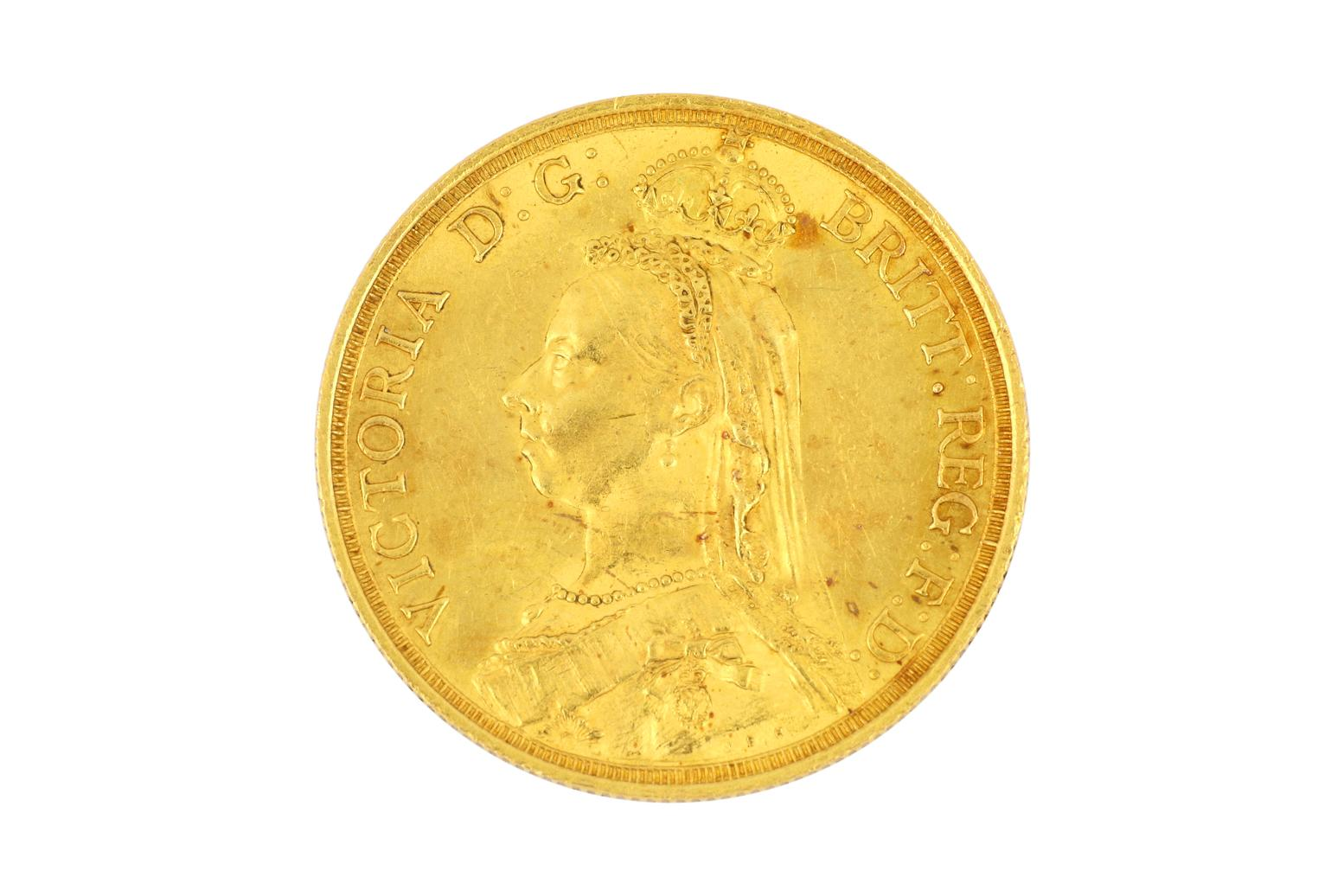 Very rare 22ct gold 1887 double sovereign coin