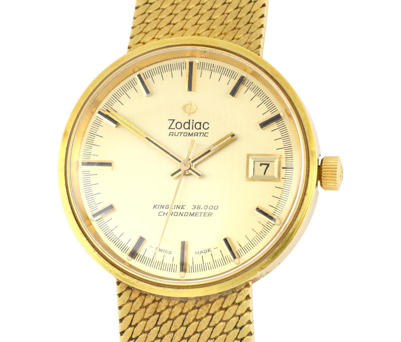 Zodiac Gent's vintage 18ct gold wrist watch with 18ct gold band