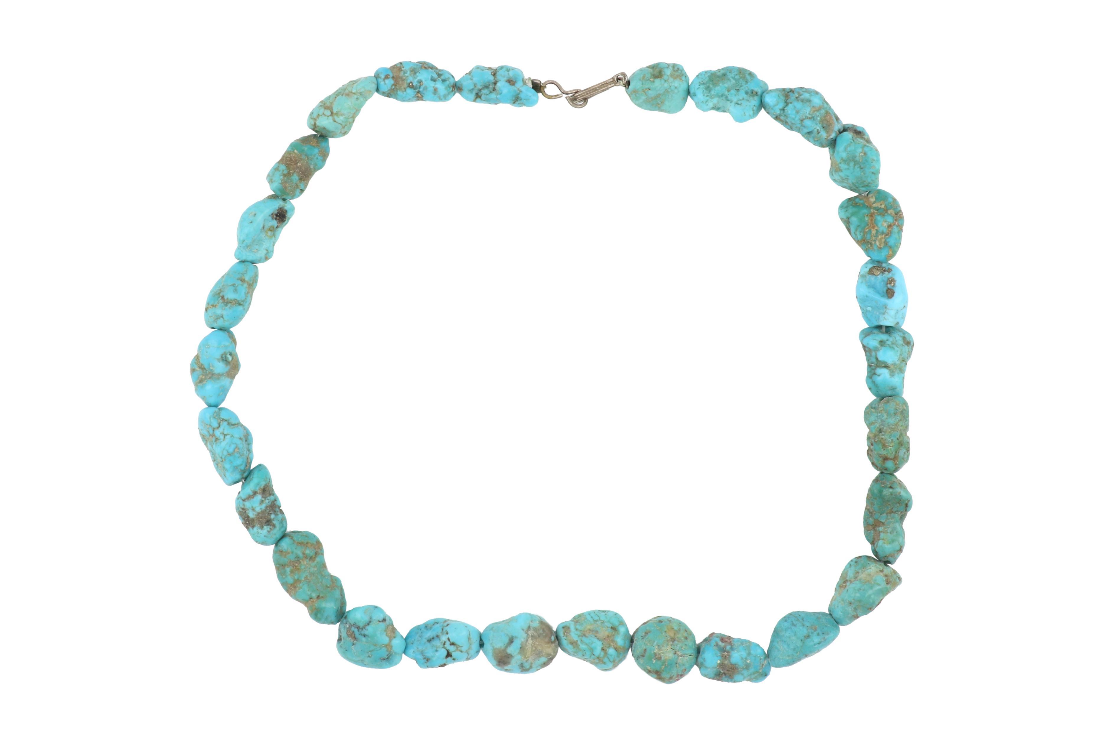 Strand of freeform turquoise beads