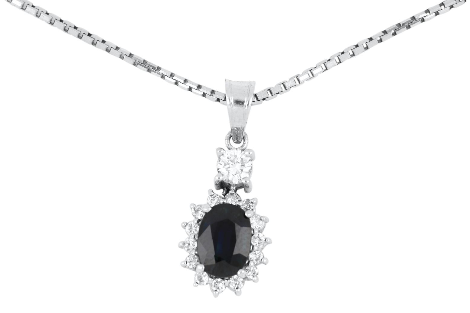 Handmade 14ct white gold sapphire & diamond pendant on 14ct white gold box link chain