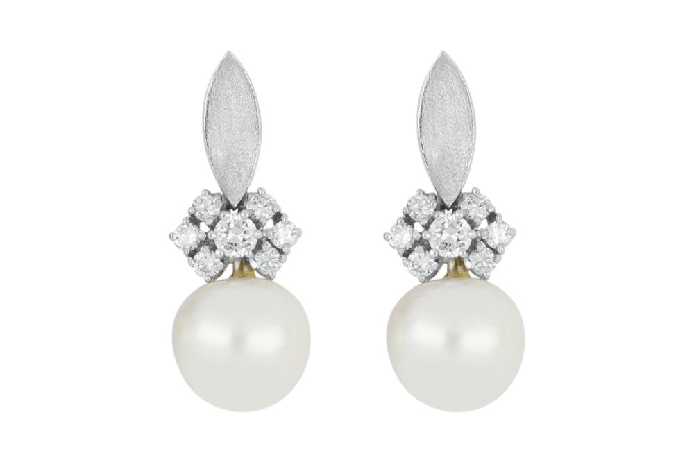 Pair of 18ct white gold cultured pearl & diamond drop earrings