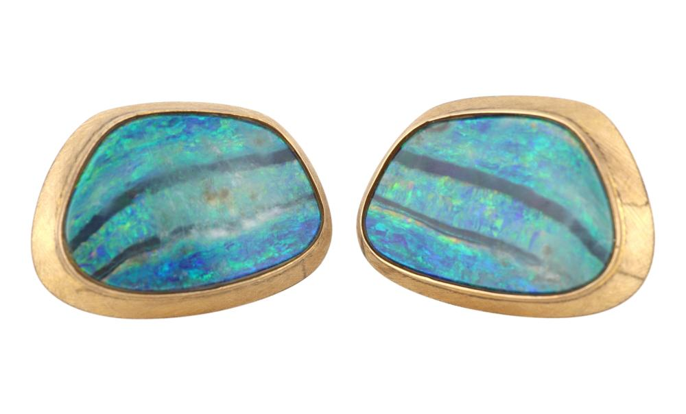 Pair of vintage 18ct yellow gold boulder opal cufflinks
