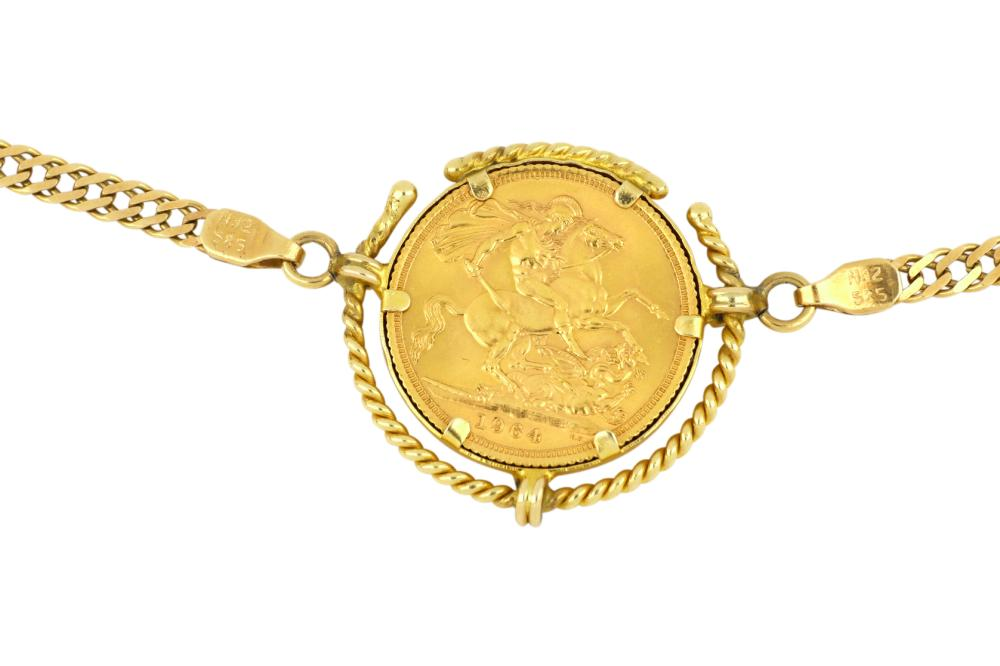 14ct gold necklace set with 22ct gold 1964 sovereign