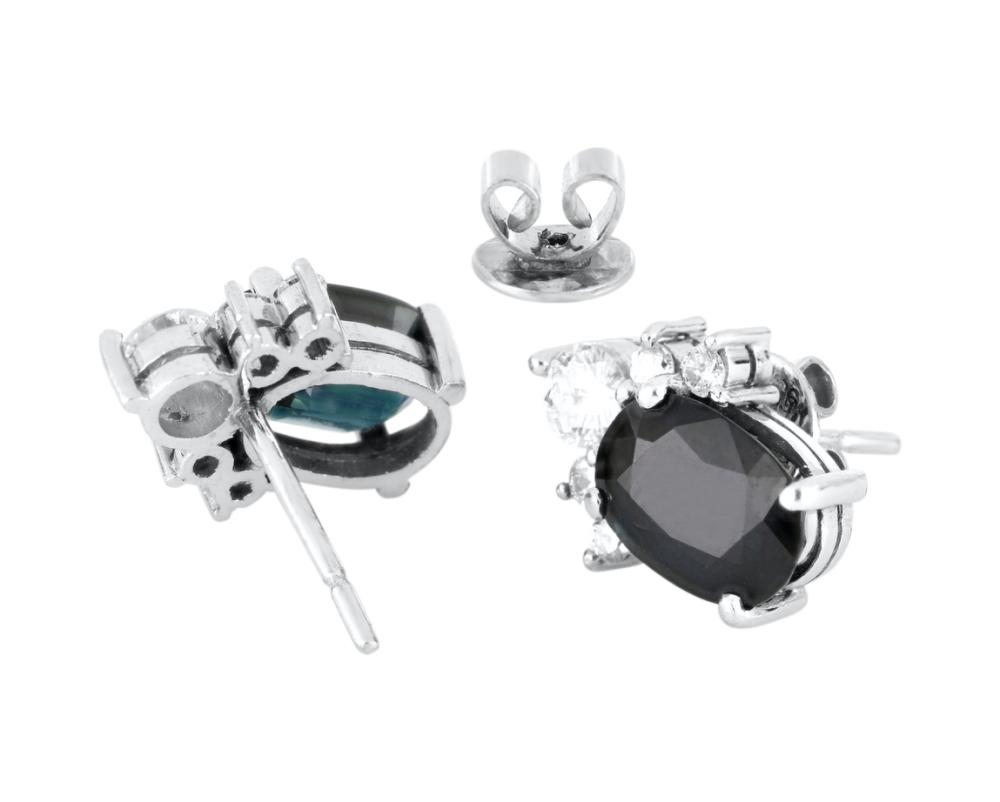 Pair of 18ct white gold sapphire & diamond ear studs