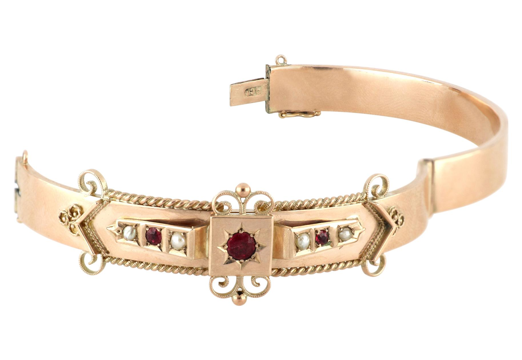 Antique Victorian 9ct rose gold ruby & seed pearl hinged bangle