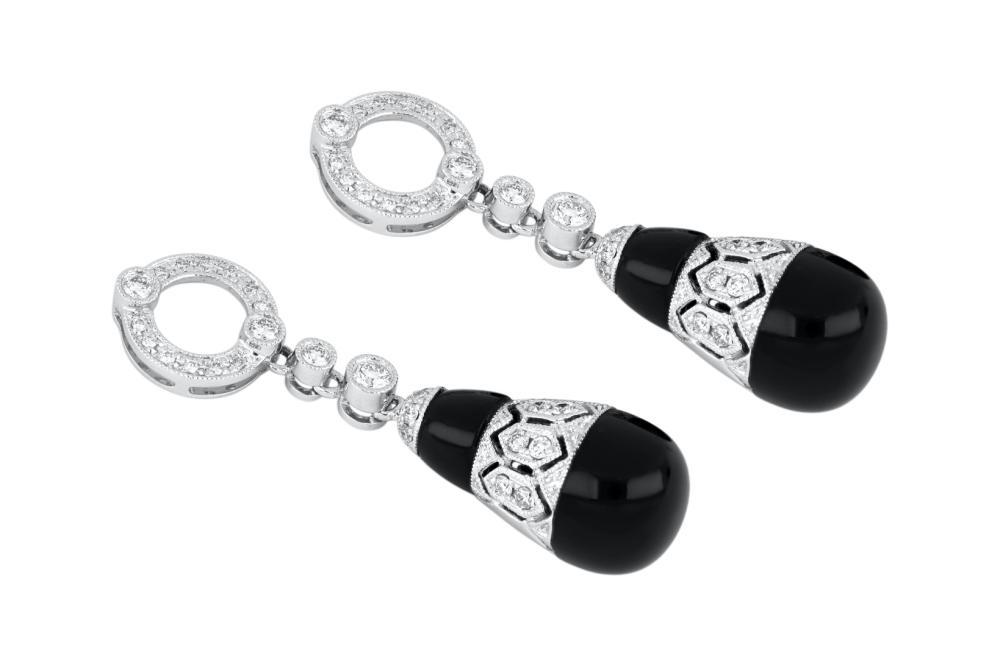 Pair of brand new 18ct white gold onyx & diamond drop earrings