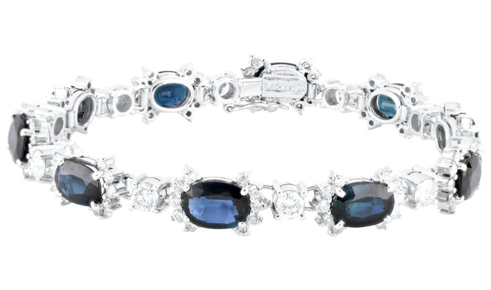 14ct white gold Australian sapphire & diamond bracelet