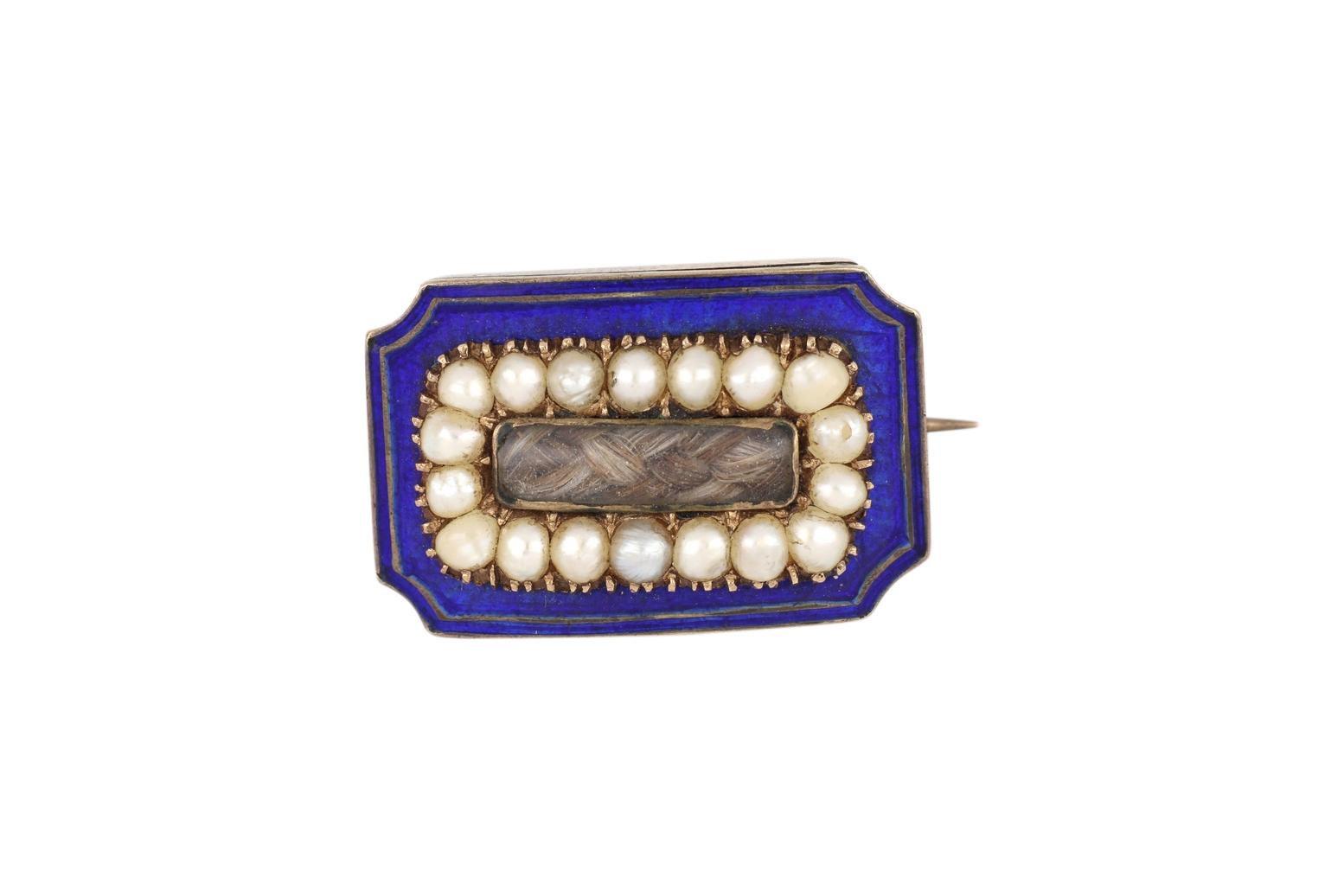 Rose gold & blue enamel mourning brooch set with seed pearls