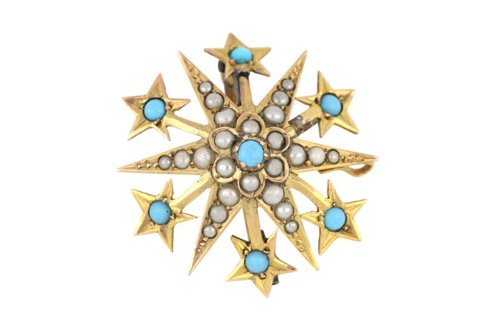 Antique 9ct yellow gold sunburst brooch/pendant set with turquoise & seed pearls