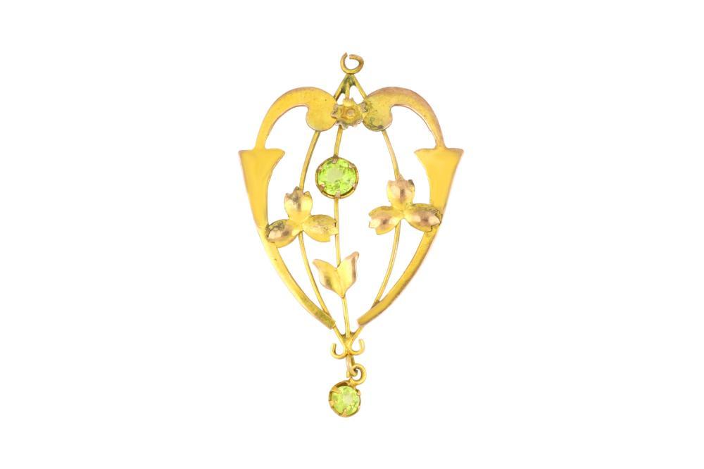 Antique 9ct yellow gold peridot pendant