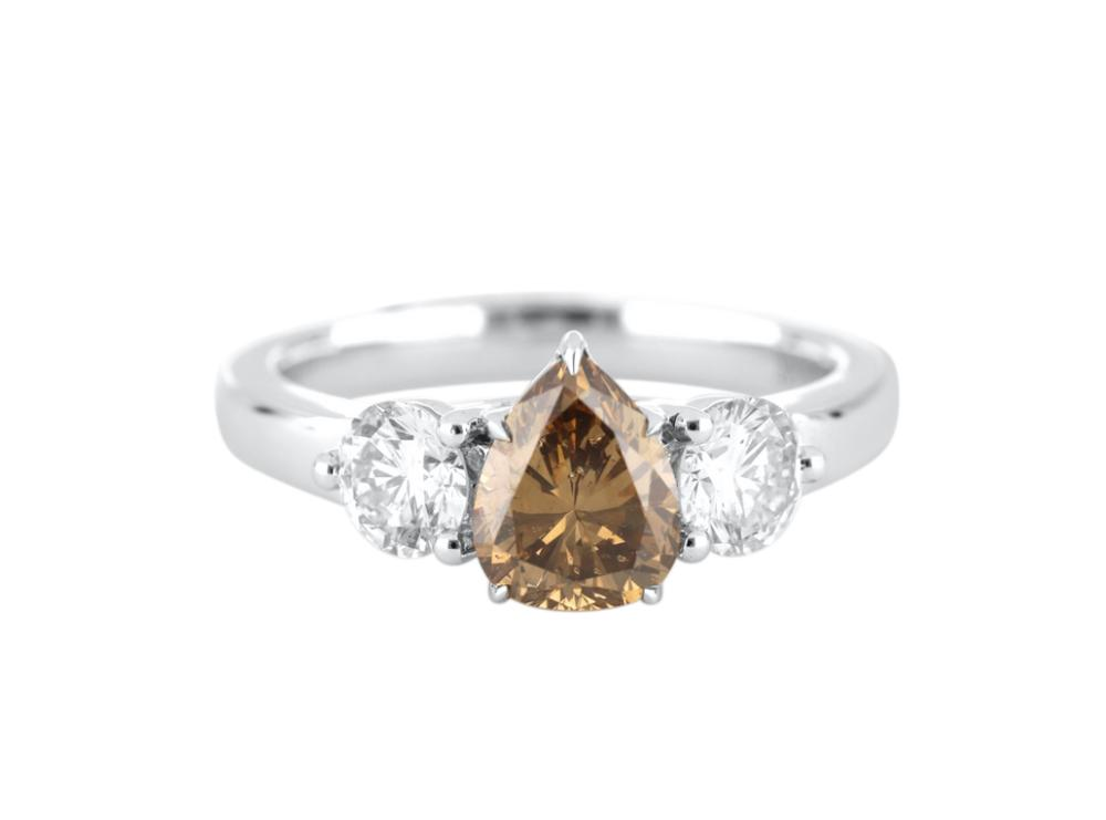 18ct white gold 1.32 ct pear shaped C5 colour diamond, Valuation Cert $16,100.00, weight 3.32 grams