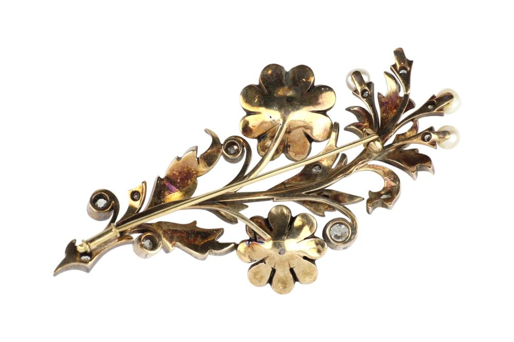 Antique silver,gold diamond and pearl flowers brooch, 80 x 35 mm, weight 26.00 grams