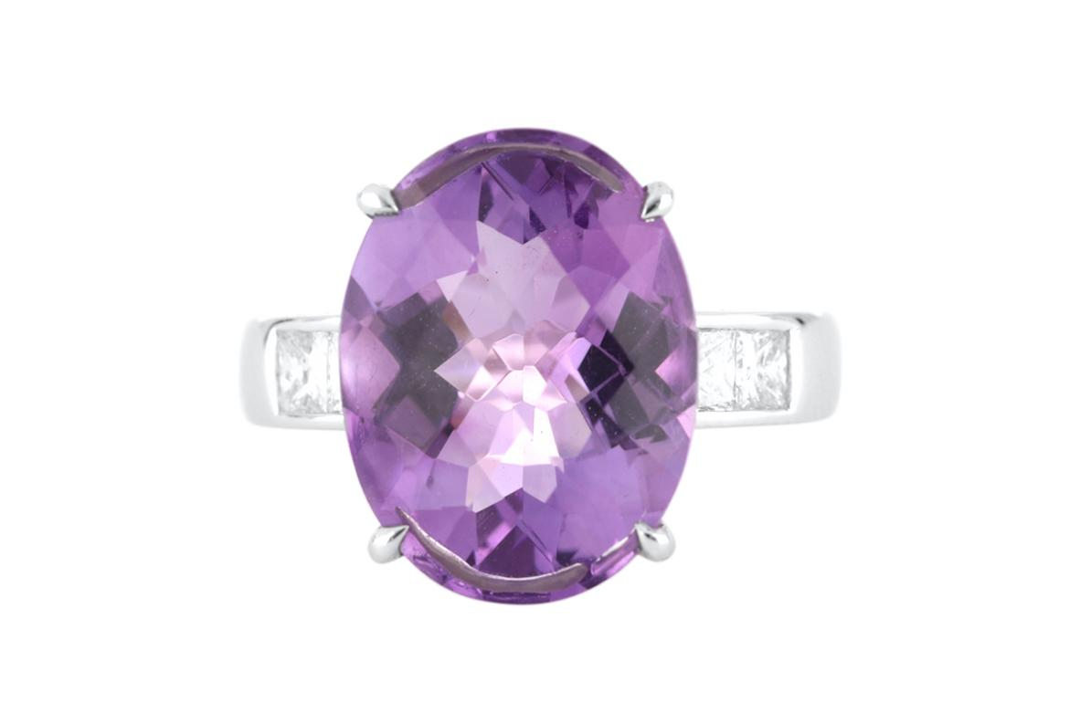 18ct white gold oval amethyst and diamond dress ring, Valuation Cert $4,109.00, Weight 6.81 grams