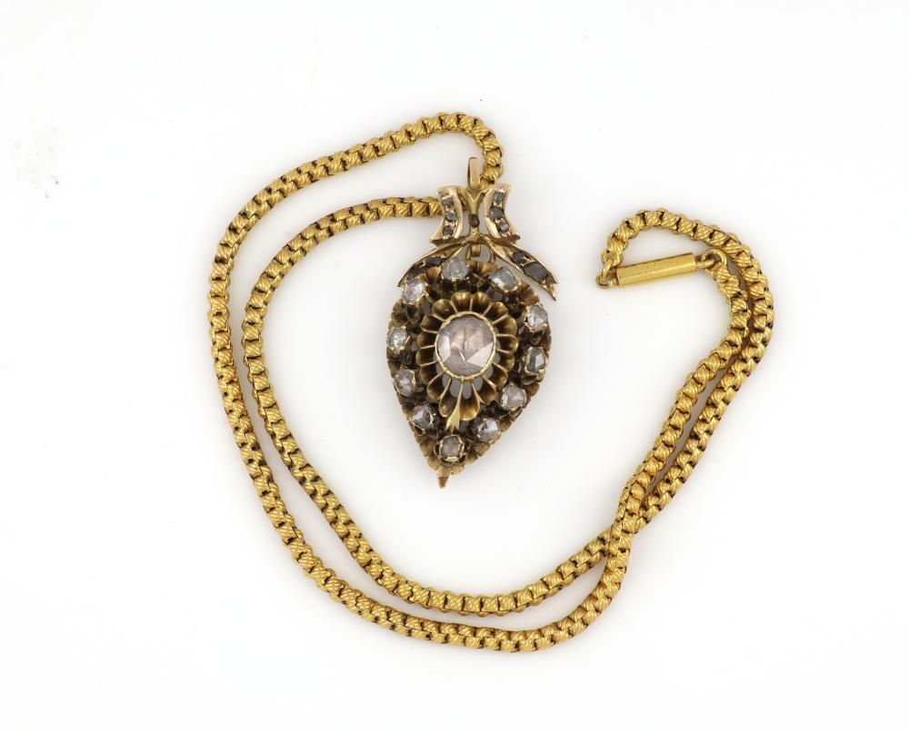 Antique Victorian gold rose cut diamond pendant necklace, Circa 1870, Weight 14.00 grams