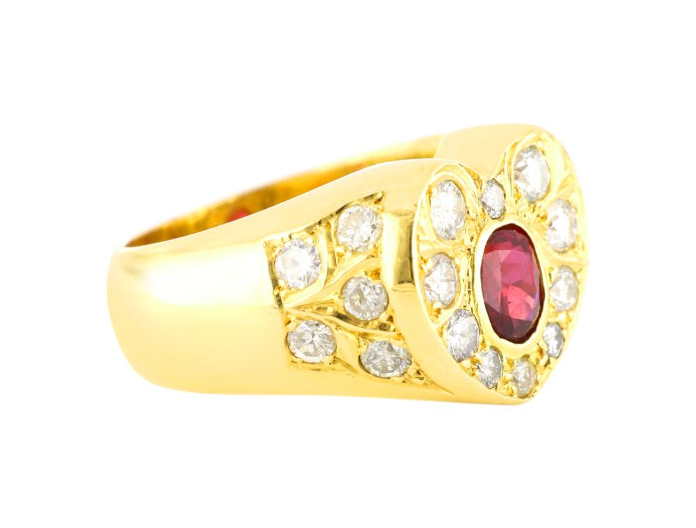 18ct gold heart shaped natural ruby and diamond ring, Valuation Cert $17,581.00 August 2014, Total weight 27.40 grams