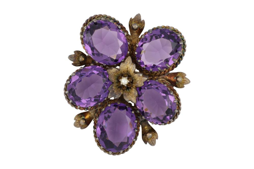 Antique amethyst and pearl flower brooch, 45 x 35 mm, weight .13 grams