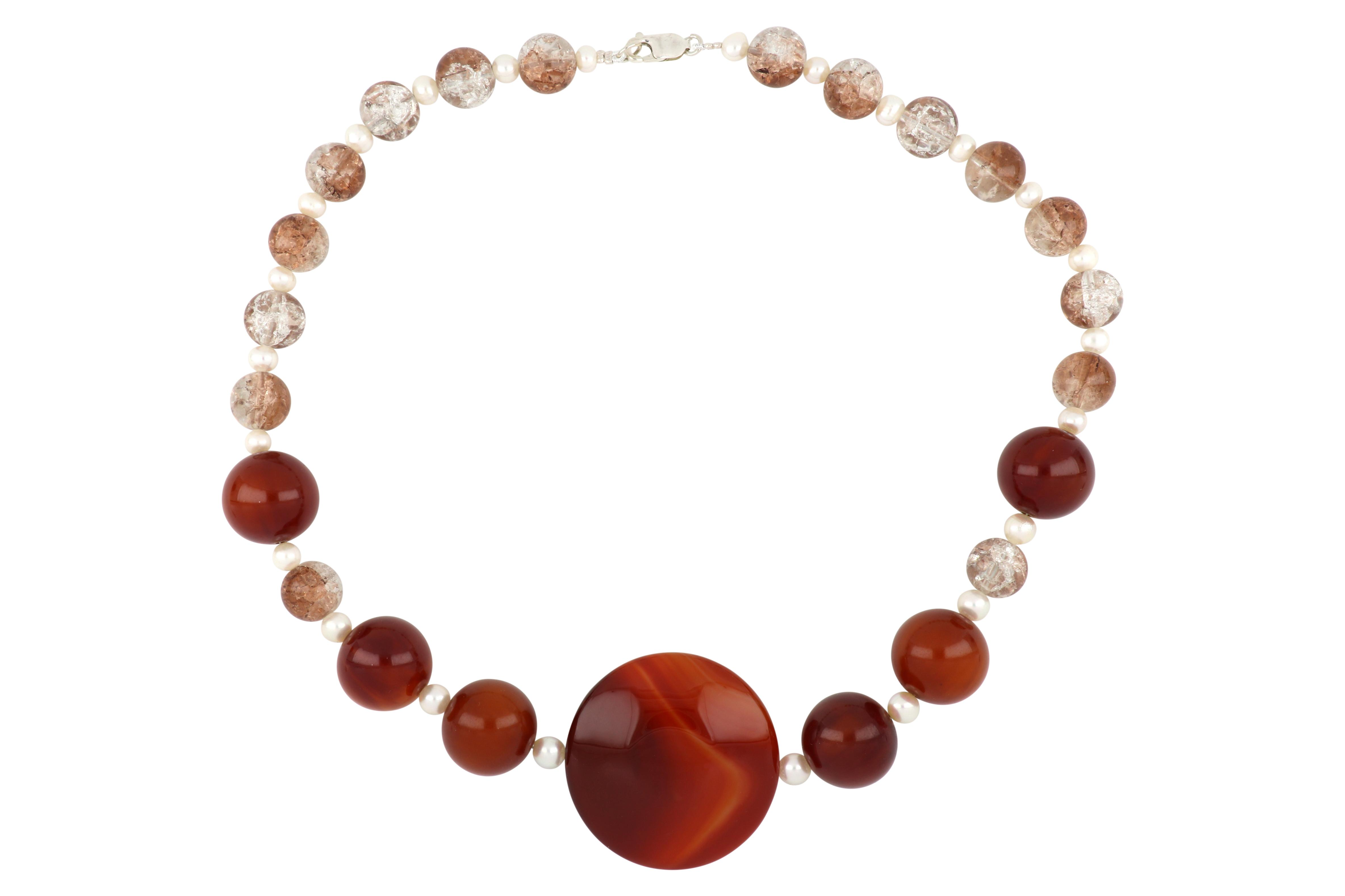 Vintage agate,amber,rock crystal and pearl necklace, 48 cms long, Weight 105.00 grams