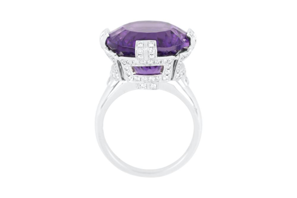 18ct white gold amethyst and diamond cocktail ring, Valuation Cert $7,351.00, Weight 8.94 grams
