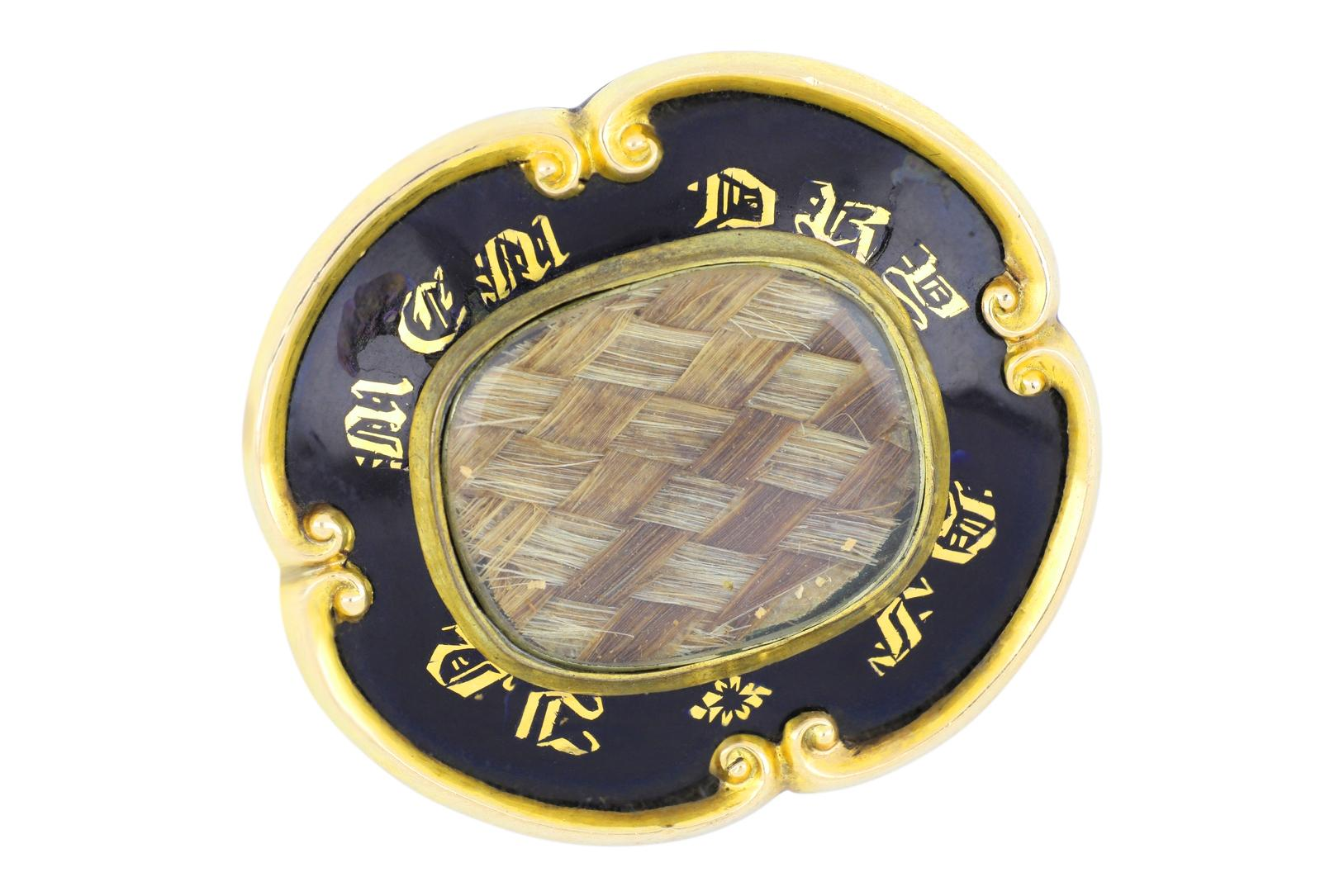 Victorian gold and black enamel with hair mourning brooch, 40 x 35 mm, weight 16.00 grams