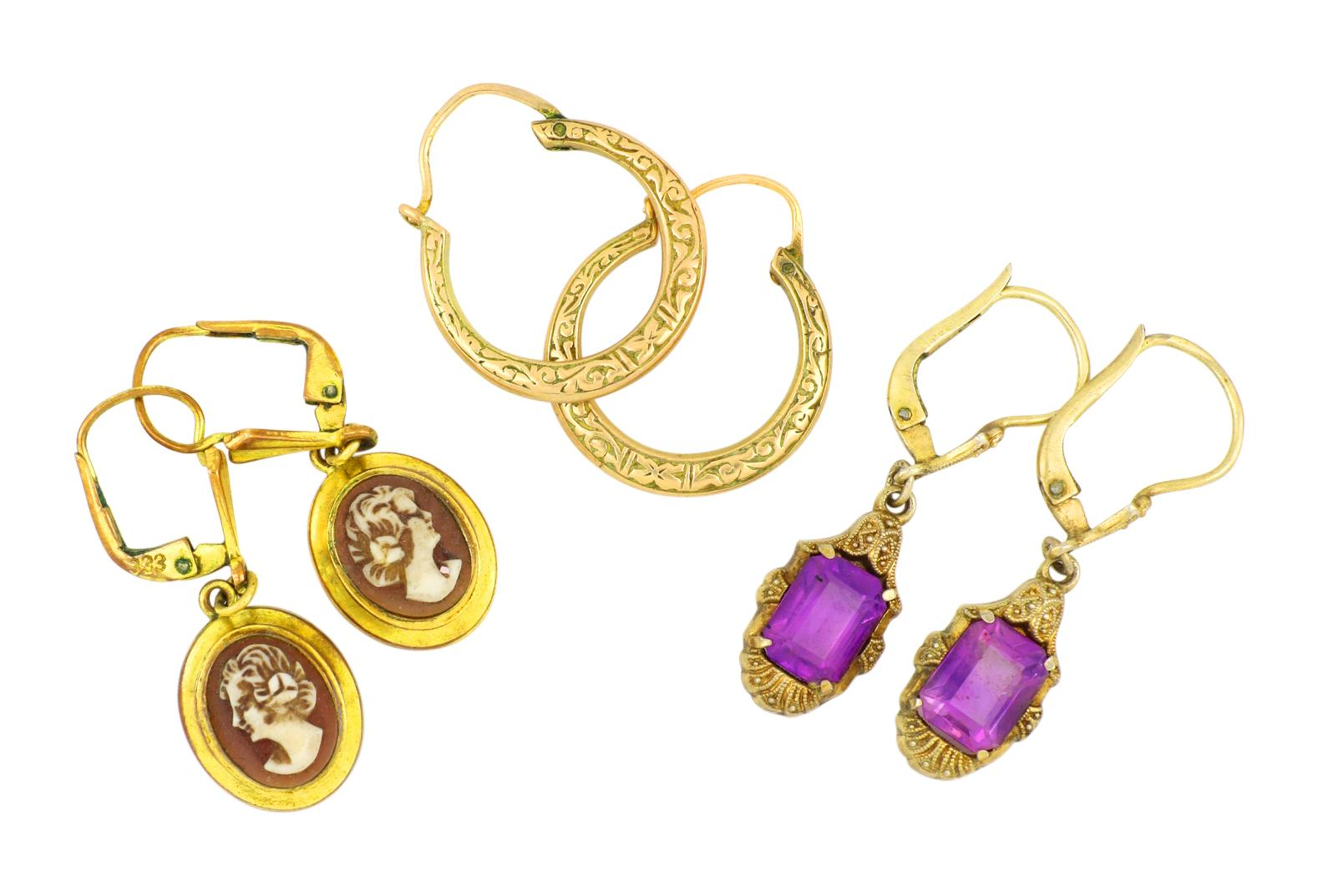 Vintage cameo, amethyst and gold hoop earrings