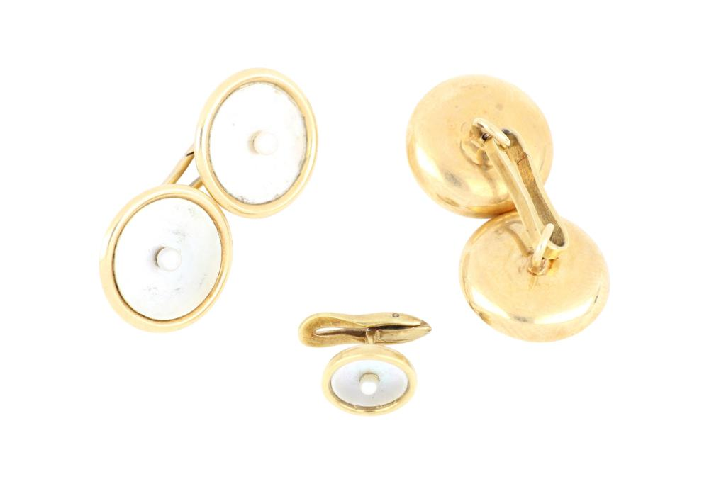 Antique French Art Deco 14ct gold pearl cufflinks and stud, Weight 7.00 grams